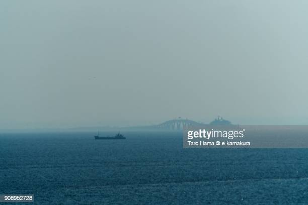 Tokyo Bay Aqua Line and tanker on Tokyo Bay in Japan