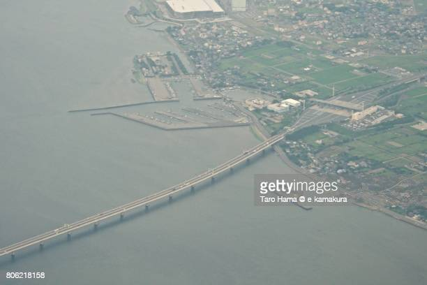 Tokyo Bay Aqua Line daytime aerial view from airplane