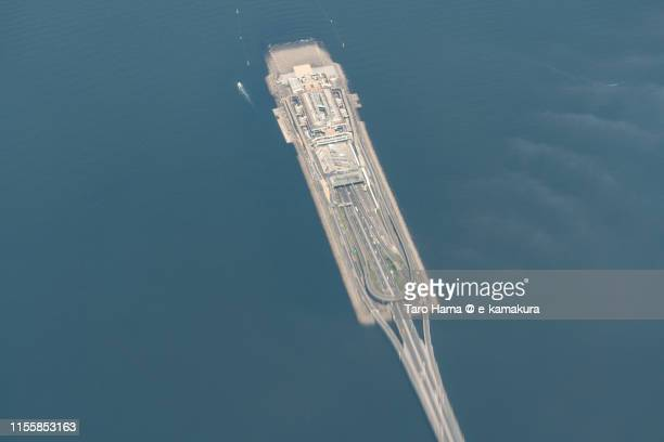 tokyo bay aqua line in japan aerial view from airplane - chiba city stock pictures, royalty-free photos & images