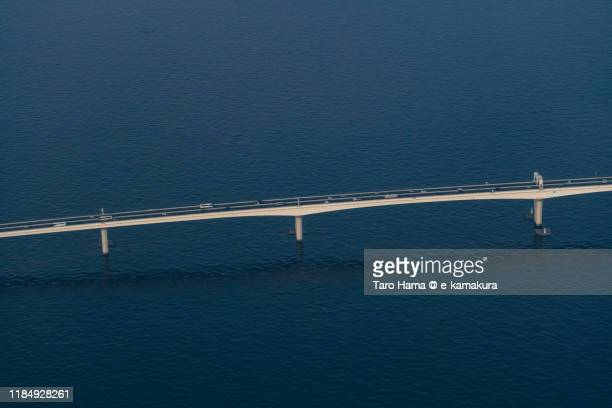 tokyo bay aqua line in japan aerial view from airplane - chiba bus ストックフォトと画像