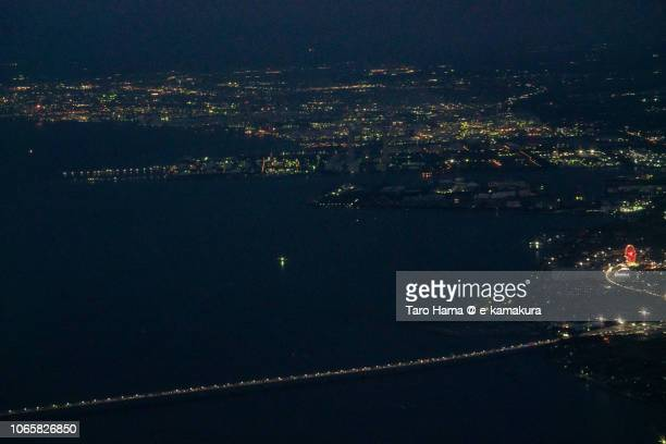 Tokyo Bay Aqua Line in Japan daytime aerial view from airplane