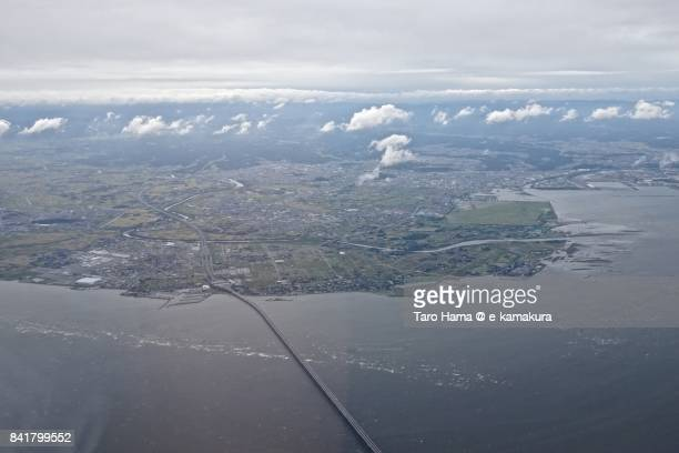 Tokyo Bay Aqua Line in Kisarazu city in Chiba prefecture day time aerial view from airplane