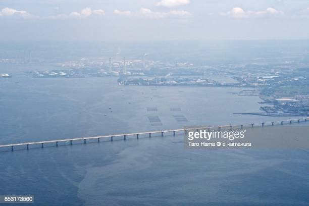 Tokyo Bay Aqua Line in Kisarazu city in Chiba prefecture daytime aerial view from airplane