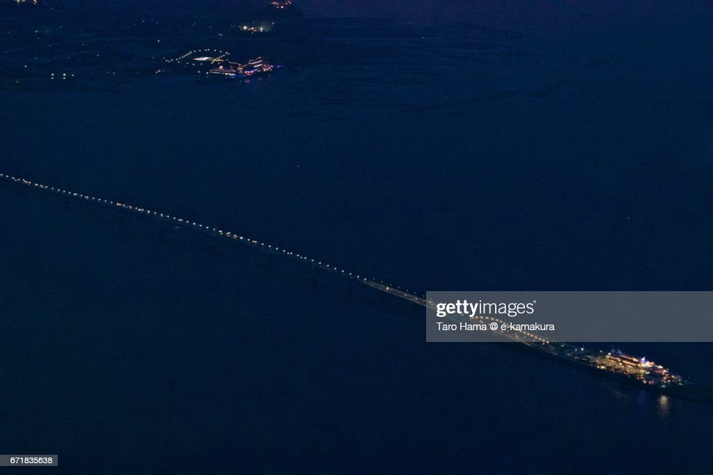 Tokyo Bay Aqua Line night aerial view from airplane : ストックフォト