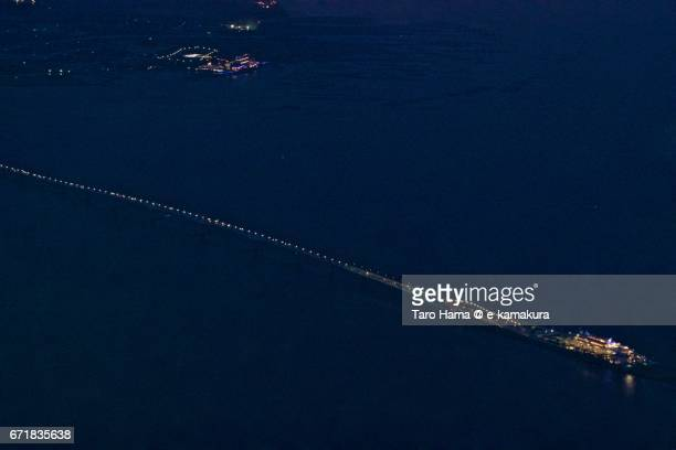 Tokyo Bay Aqua Line night aerial view from airplane