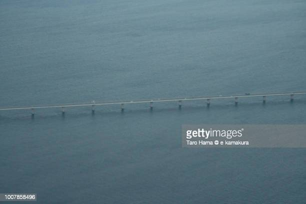Tokyo Bay Aqua Line on Tokyo Bay in Japan daytime aerial view from airplane