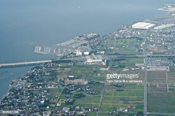 Tokyo Bay Aqua Line toll gate in Chiba prefecture daytime aerial view from airplane