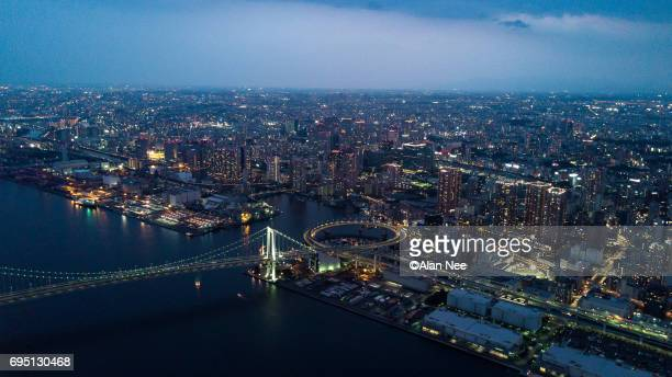 tokyo bay from the air - 現代的 photos et images de collection