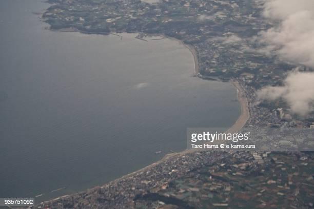 Tokyo Bay, Miura and Tsukihama Beach in Miura city in Kanagawa prefecture in Japan daytime aerial view from airplane