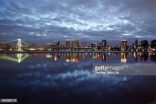 Tokyo Bay reflection at night