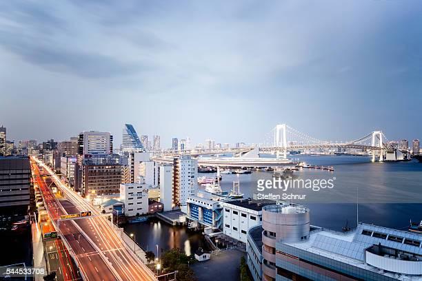 Tokyo Bay skyline Minato City street traffic