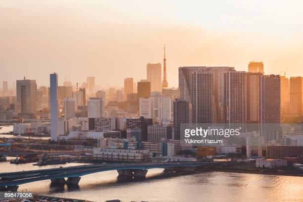 tokyo bay skyline - 夕暮れ ストックフォトと画像