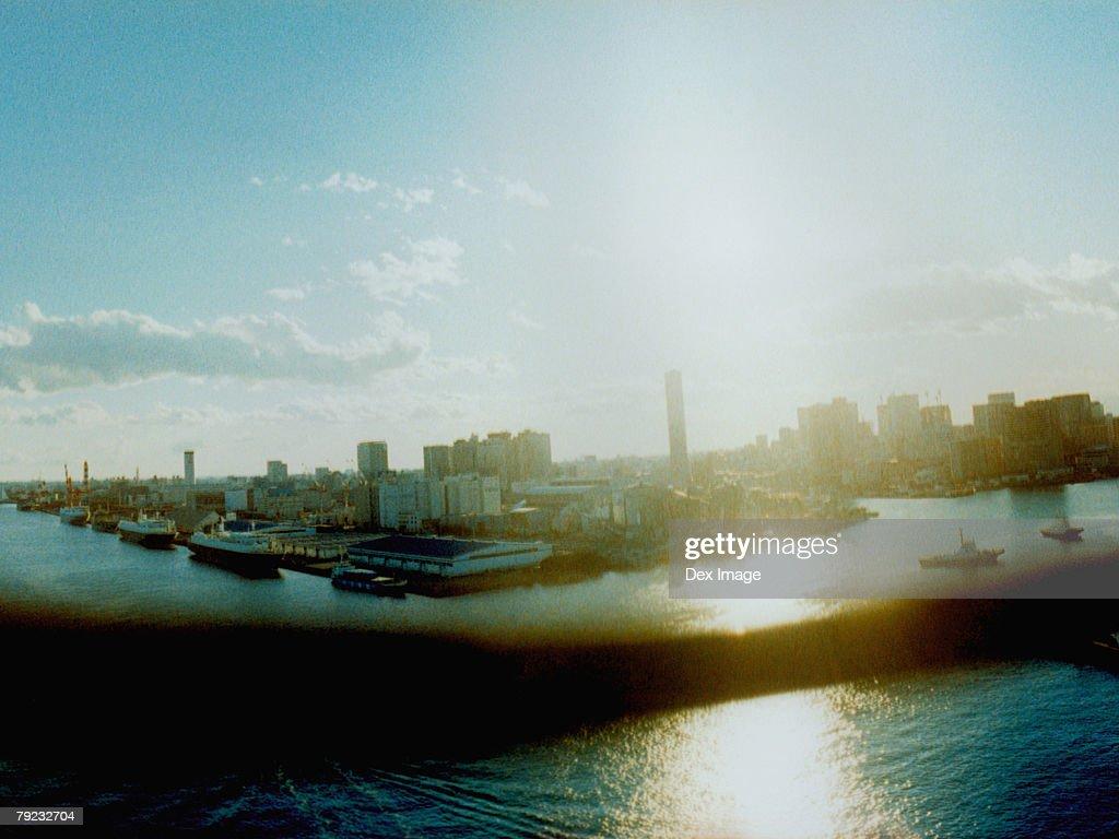 Tokyo Bay skyline view at sunset : Stock Photo