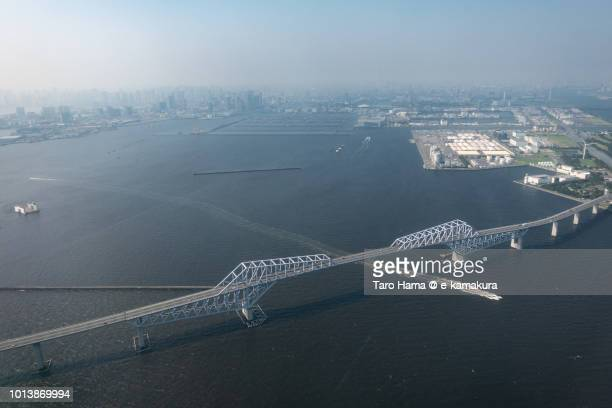 Tokyo Bay, Tokyo Gate Bridge and Tokyo cityscape daytime aerial view from airplane