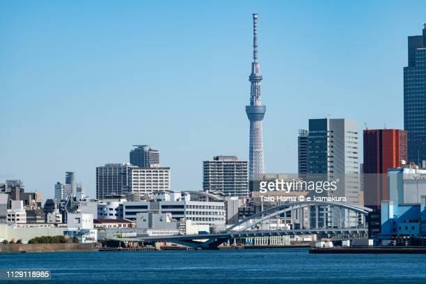 Tokyo Bay, Tokyo Sky Tree and Kachidoki Bridge in Tokyo in Japan