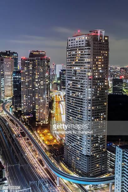 Tokyo City bird's‐eye view at night