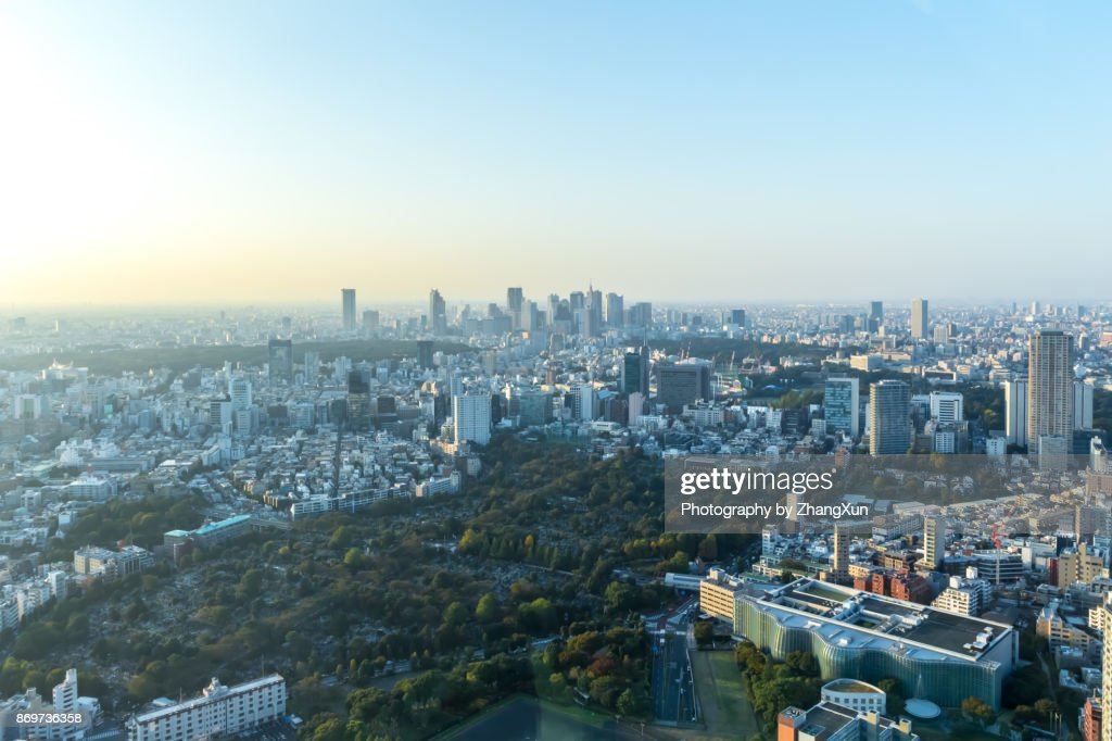 Tokyo city cityscape aerial with shinjuku skyscrapers under a clear blue sky, taken from Roppongi, minato ward, Tokyo, Japan. : Stock-Foto