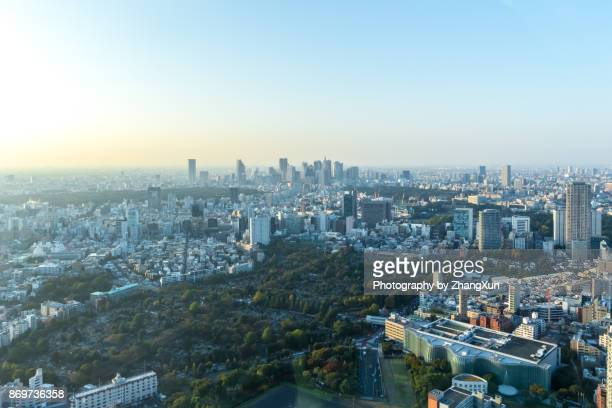 tokyo city cityscape aerial with shinjuku skyscrapers under a clear blue sky, taken from roppongi, minato ward, tokyo, japan. - japanese culture stock pictures, royalty-free photos & images