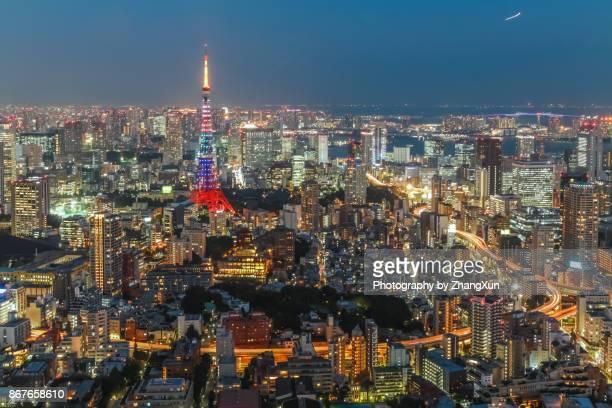 Tokyo city cityscape aerial with skyscrapers at night illuminated, taken from Roppongi, minato ward, Tokyo, Japan.