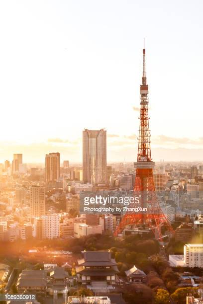 tokyo city elevated beautiful view at sunset, japan. - minimalist living in japan ストックフォトと画像