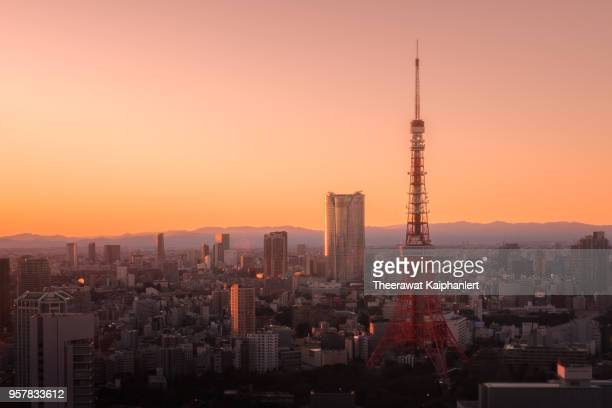Tokyo city host of Olympic 2020 with sunset view