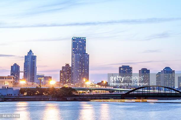 Tokyo city, Japan at Toyosu area night view.