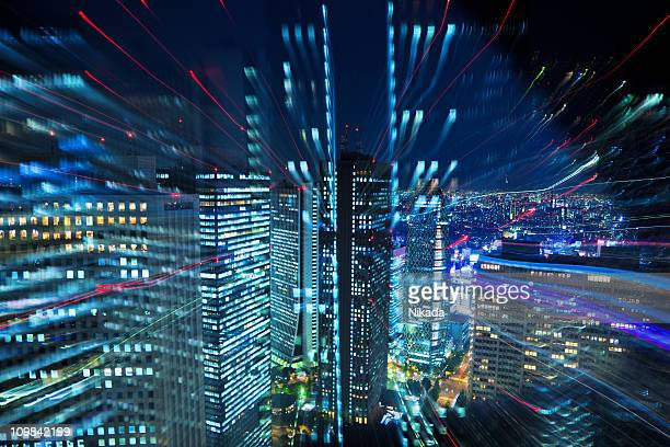 tokyo city lights - overhead view of traffic on city street tokyo japan stock photos and pictures