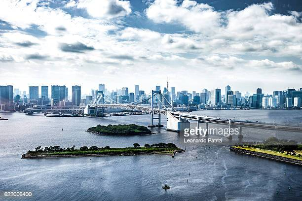 Tokyo city modern bridge and downtown cityscape
