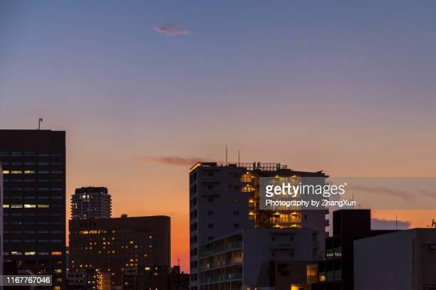 tokyo city skyline at night. - 住宅地 ストックフォトと画像