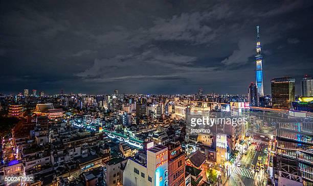 Tokyo City skyline at night with Asakusa Senso-ji and Tokyo Skytree in Tokyo Japan