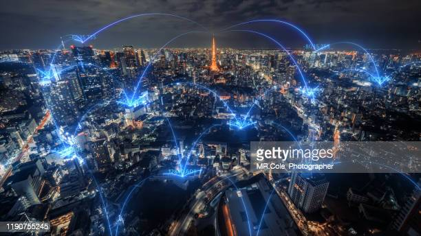 tokyo city skyline with network connections line.internet of things and smart city concept,technology-futuristic concept - financial technology stock pictures, royalty-free photos & images
