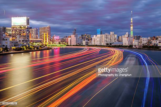 Tokyo City Skyscrapers nightview with light trails