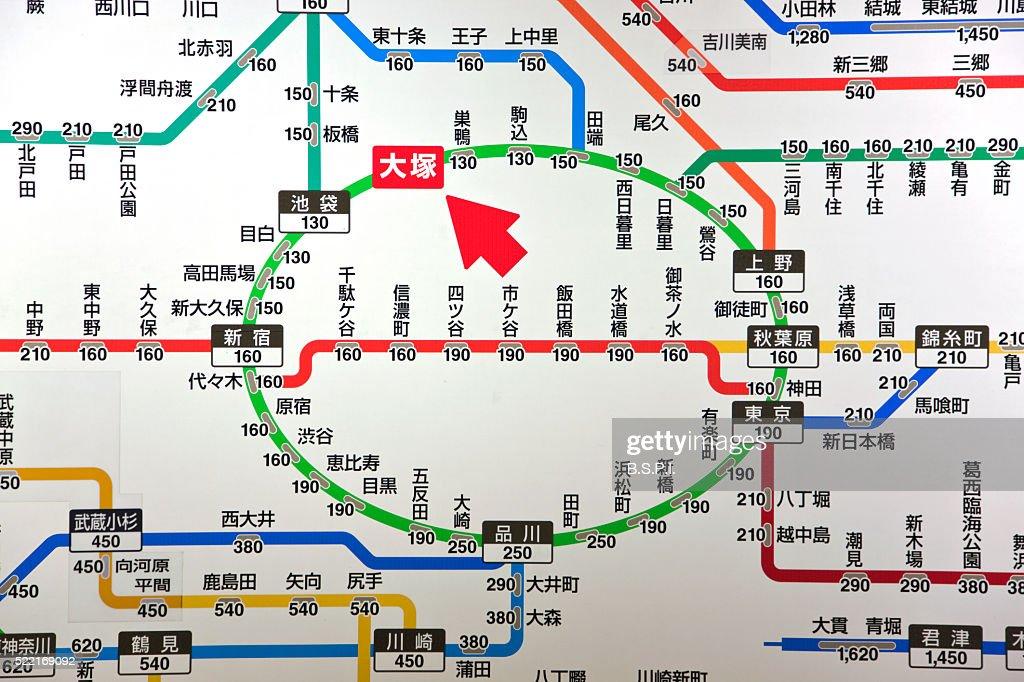 Tokyo City Train Map At Otsuka Station In Tokyo Japan Stock Photo