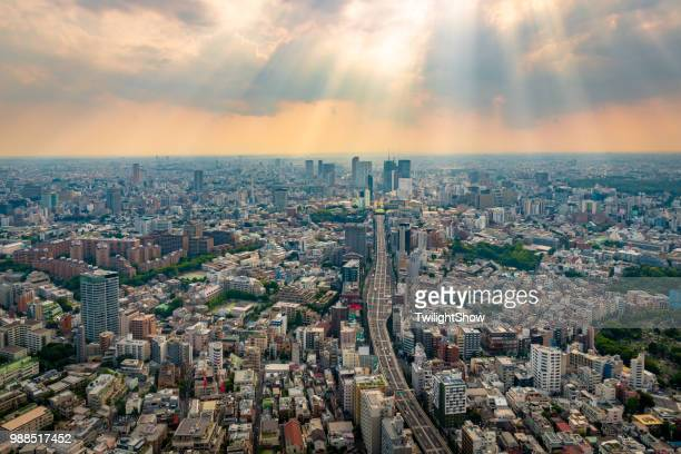 tokyo city viewpoint with sunset - townscape stock pictures, royalty-free photos & images