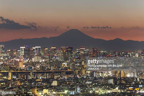 tokyo city with mt.fuji in background - narita international airport stock photos and pictures