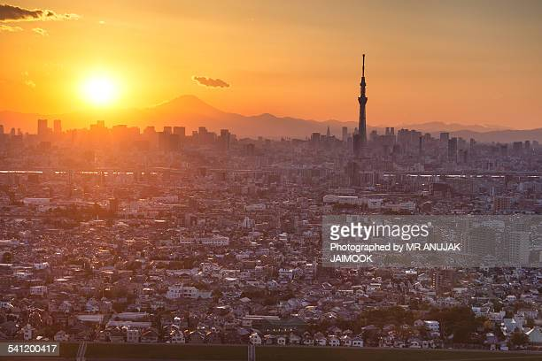tokyo city with sunset behind mt.fuji - narita international airport stock photos and pictures