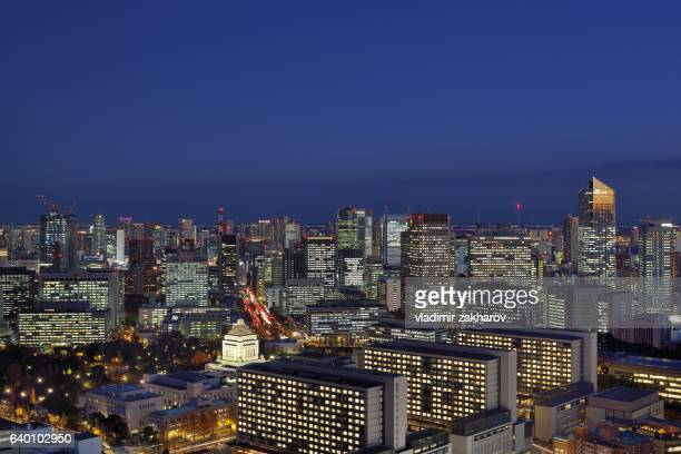 tokyo citysape at twilight - national diet of japan stock pictures, royalty-free photos & images