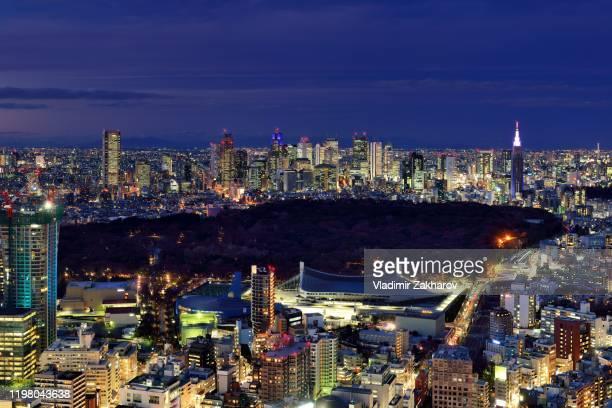 tokyo cityscape aerial view 2020 - 代々木 ストックフォトと画像