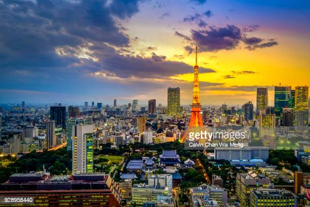 tokyo cityscape and skyscrapers - international landmark stock pictures, royalty-free photos & images