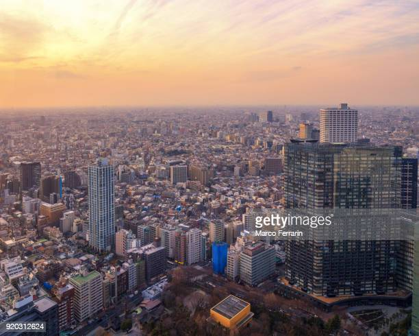 tokyo cityscape at sunset - suginami stock photos and pictures