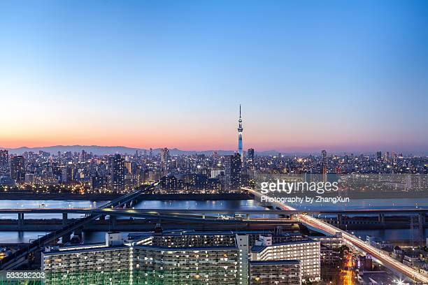 Tokyo cityscape at the end of the year 2014