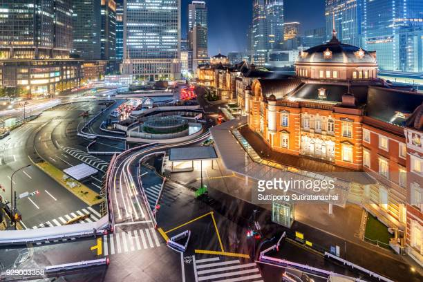 Tokyo cityscape . Beautiful night view of Tokyo station, Japan at the Marunouchi business district and Tokyo Station.