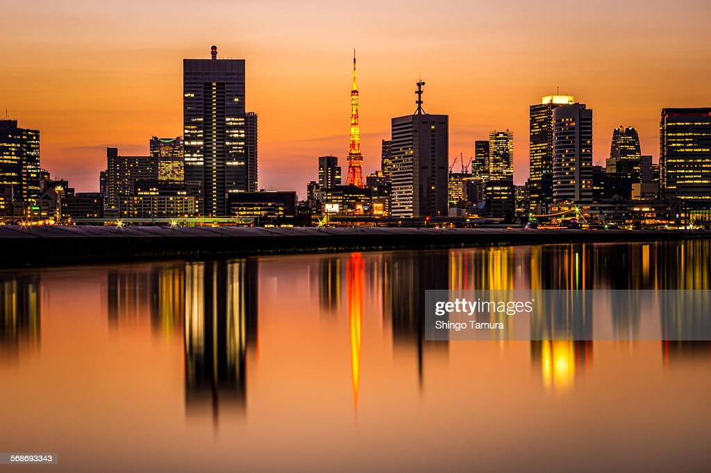 Tokyo Cityscape in Golden Twilight : Stock Photo