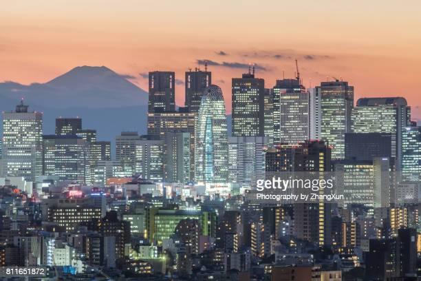 Tokyo Cityscape of Shinjyuku with skyscrapers and Mt.Fuji at night