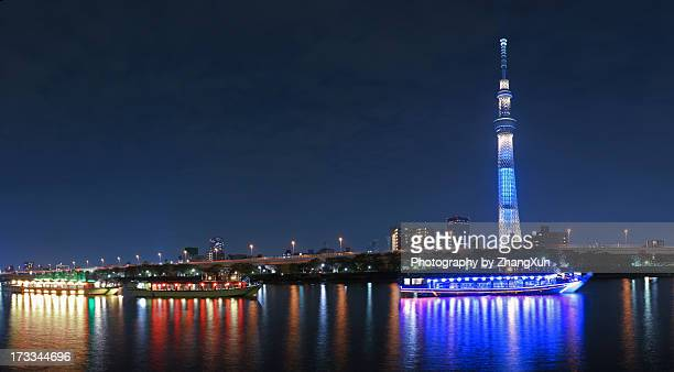 Tokyo cityscape over Sumida River at night