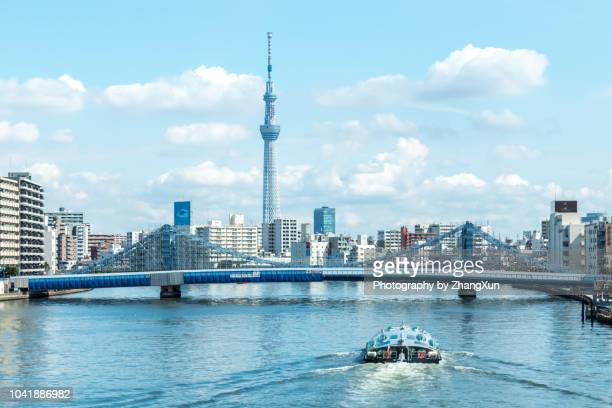 Tokyo cityscape over the Sumida River with Tokyo sky tree and Kiyosu bridge and cruise at day time, Tokyo, Japan.