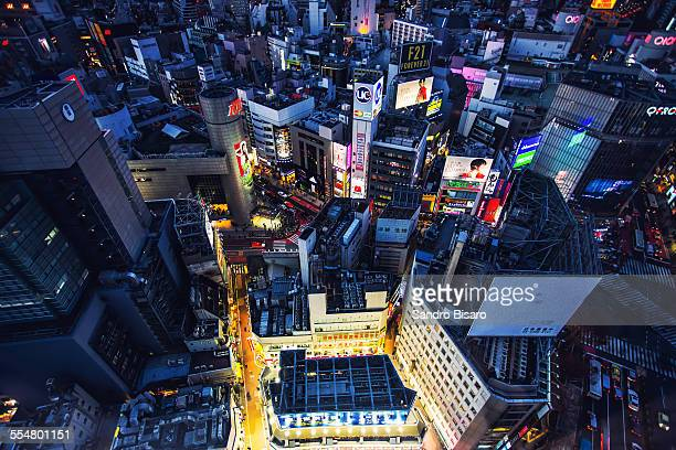 Tokyo Cityscape Shibuya aerial view at night