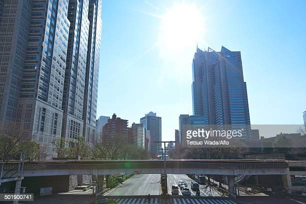 tokyo cityscape, tokyo, japan - 東京都庁舎 ストックフォトと画像