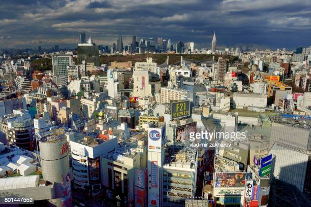 tokyo cityscape view - yoyogi tokyo stock photos and pictures