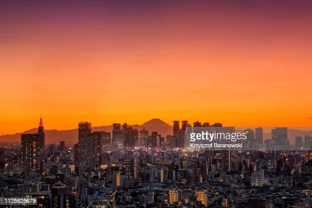 tokyo cityscape with mt. fuji in magic light - ロマンチックな空 ストックフォトと画像